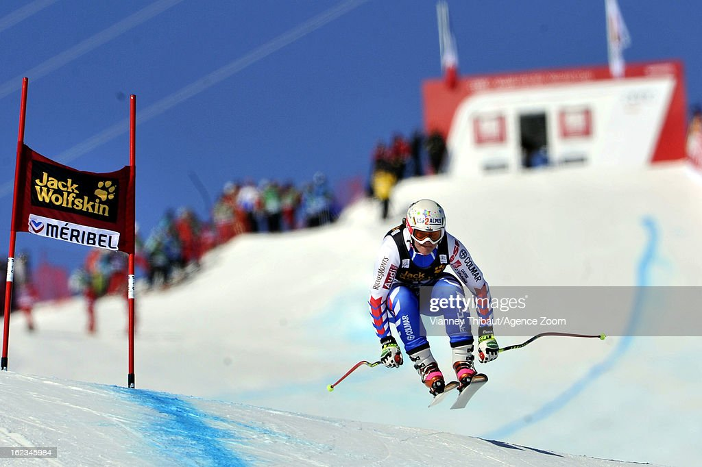 <a gi-track='captionPersonalityLinkClicked' href=/galleries/search?phrase=Marion+Rolland&family=editorial&specificpeople=2085752 ng-click='$event.stopPropagation()'>Marion Rolland</a> of France competes during the Audi FIS Alpine Ski World Cup Women's Downhill Training on February 22, 2013 in Meribel, France.