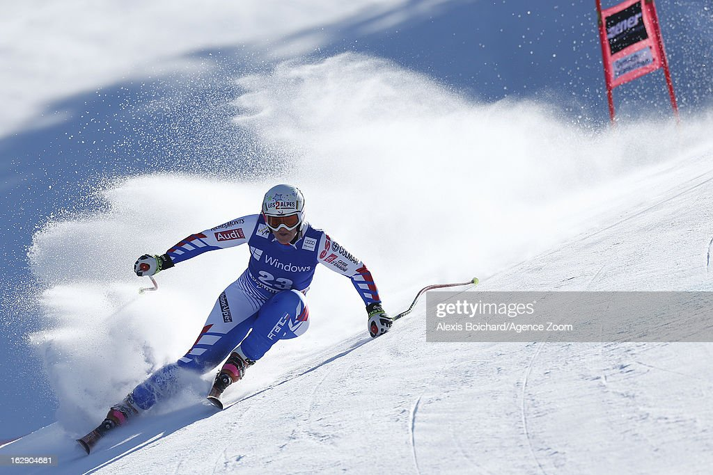 <a gi-track='captionPersonalityLinkClicked' href=/galleries/search?phrase=Marion+Rolland&family=editorial&specificpeople=2085752 ng-click='$event.stopPropagation()'>Marion Rolland</a> of France competes during the Audi FIS Alpine Ski World Cup Women's SuperG on March 01, 2013 in Garmisch-Partenkirchen, Germany.