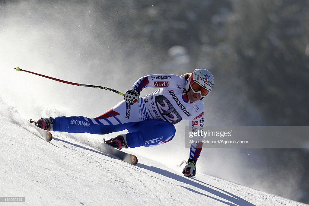 <a gi-track='captionPersonalityLinkClicked' href=/galleries/search?phrase=Marion+Rolland&family=editorial&specificpeople=2085752 ng-click='$event.stopPropagation()'>Marion Rolland</a> of France competes during the Audi FIS Alpine Ski World Cup Women's Downhill on March 02, 2013 in Garmisch-Partenkirchen, Germany.