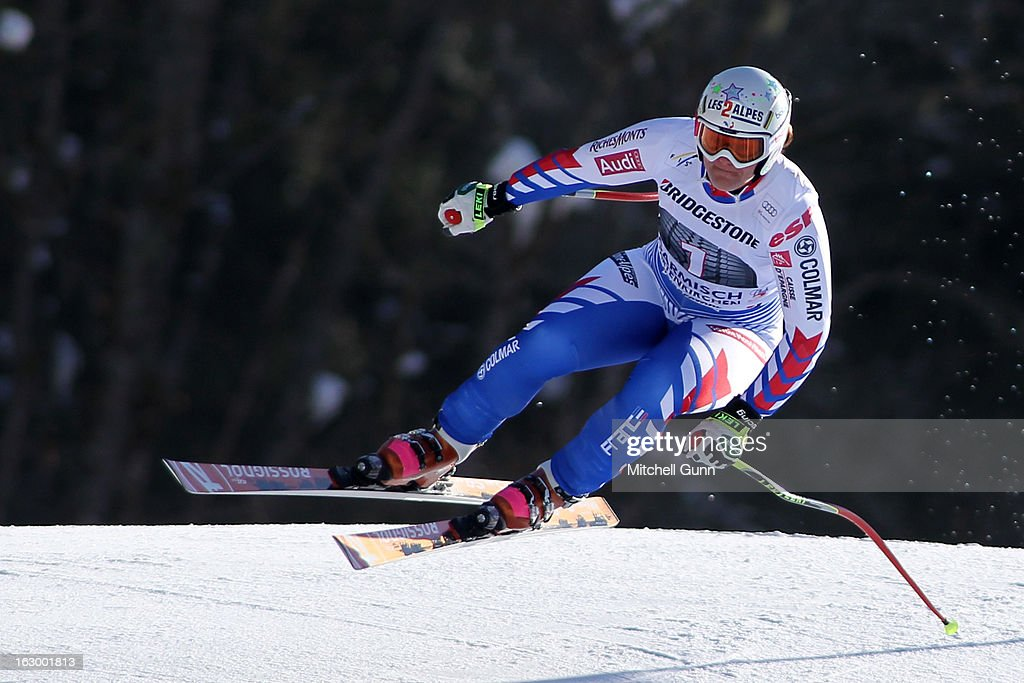 <a gi-track='captionPersonalityLinkClicked' href=/galleries/search?phrase=Marion+Rolland&family=editorial&specificpeople=2085752 ng-click='$event.stopPropagation()'>Marion Rolland</a> of France races down the hill whilst competing in the Audi FIS Ski World Cup Super-G race on March 03, 2013 in Garmisch Partenkirchen, Germany.