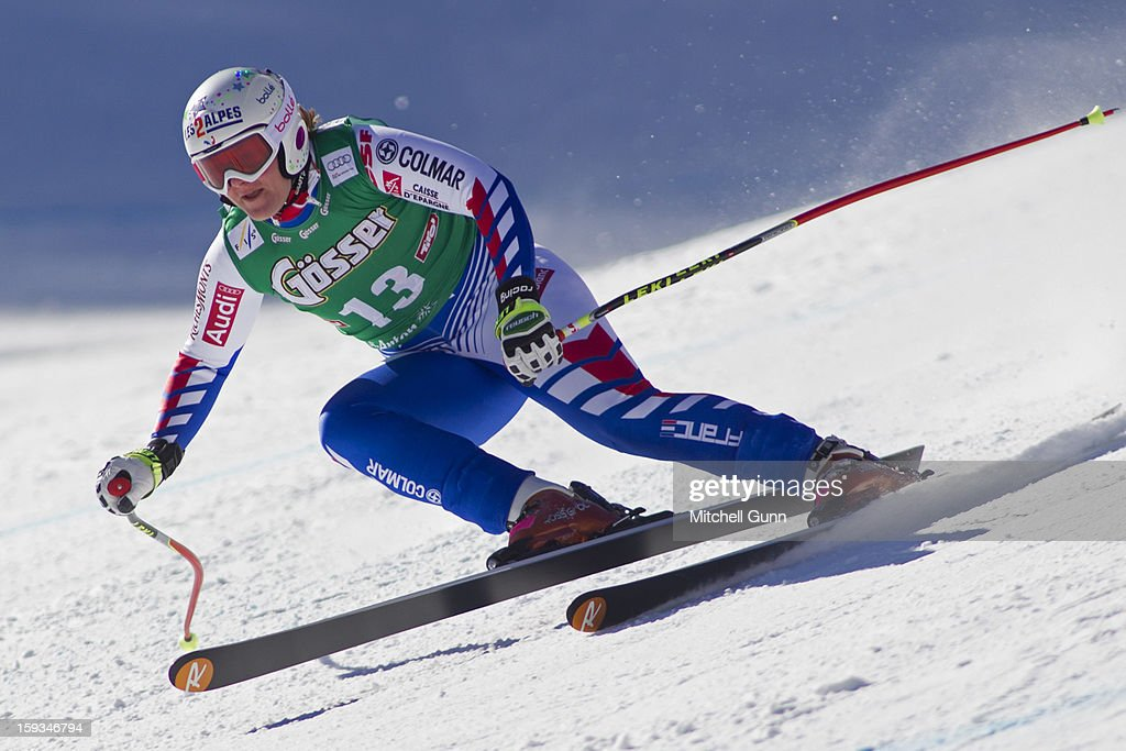 Marion Rolland of France races down the Kandahar course while competing in the Audi FIS Alpine Ski World Cup downhill race on January 12, 2013 in St Anton, Austria.