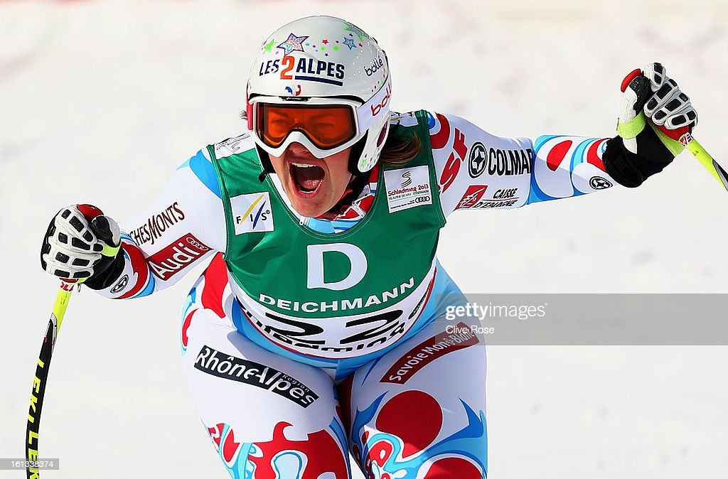 <a gi-track='captionPersonalityLinkClicked' href=/galleries/search?phrase=Marion+Rolland&family=editorial&specificpeople=2085752 ng-click='$event.stopPropagation()'>Marion Rolland</a> of France reacts in the finish area after posting the fastest time in the Women's Downhill during the Alpine FIS Ski World Championships on February 10, 2013 in Schladming, Austria.