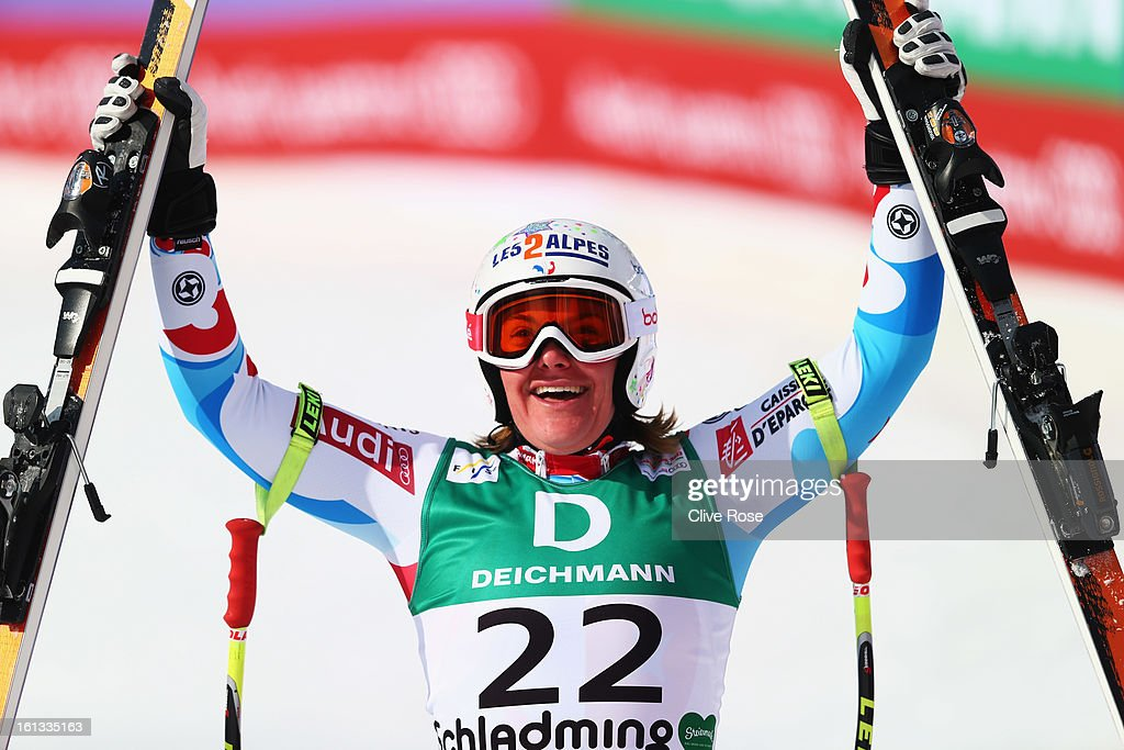 <a gi-track='captionPersonalityLinkClicked' href=/galleries/search?phrase=Marion+Rolland&family=editorial&specificpeople=2085752 ng-click='$event.stopPropagation()'>Marion Rolland</a> of France reacts in the finish area after skiing in the Women's Downhill during the Alpine FIS Ski World Championships on February 10, 2013 in Schladming, Austria.