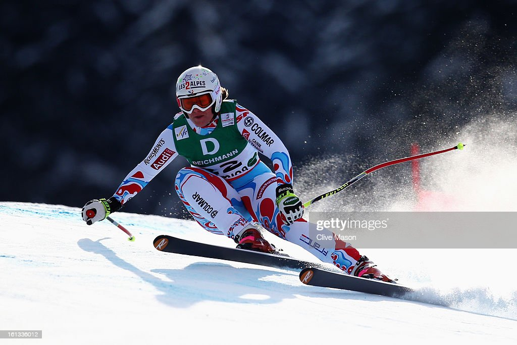 <a gi-track='captionPersonalityLinkClicked' href=/galleries/search?phrase=Marion+Rolland&family=editorial&specificpeople=2085752 ng-click='$event.stopPropagation()'>Marion Rolland</a> of France skis in the Women's Downhill during the Alpine FIS Ski World Championships on February 10, 2013 in Schladming, Austria.
