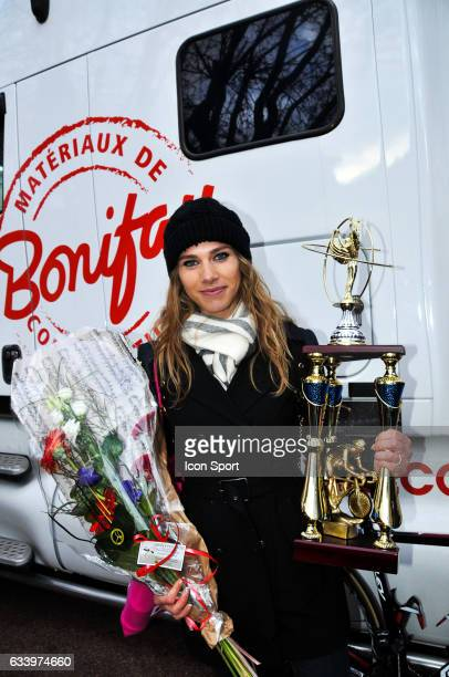 Marion Rousse and trophies from her husband Tony Gallopin of Lotto Soudal during the stage 5 of the Etoile of Besseges from Ales to Ales on February...