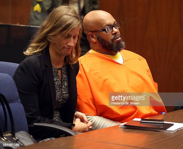 Marion 'Suge' Knight and his attorney in Los Angeles Superior Court for his arraignment on October 27 2015 in Los Angeles California Knight and...