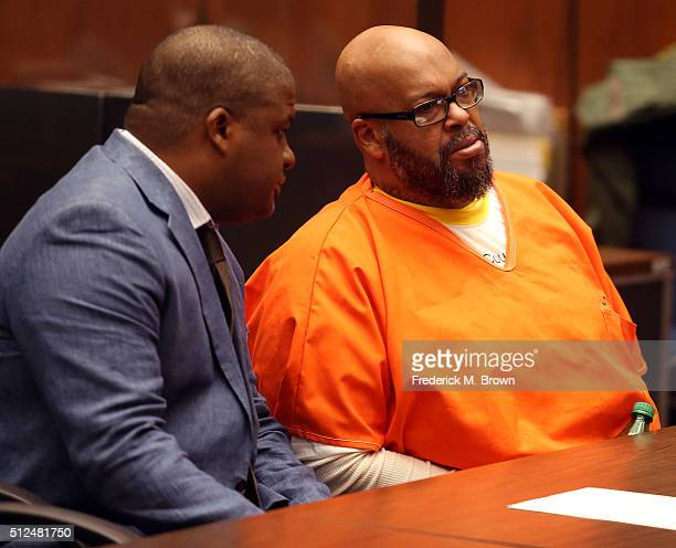 Marion 'Suge' Knight and his attorney Thaddeus Culpepper appear in court for a pretrial hearing at the Clara Shortridge Foltz Criminal Justice Center...