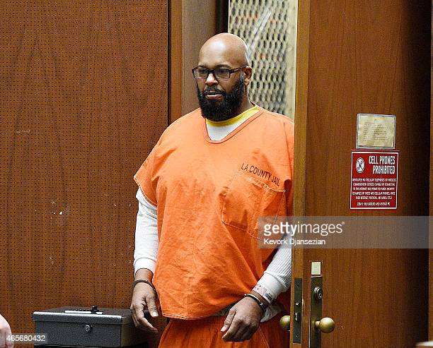 Marion 'Suge' Knight appears at Clara Shortridge Foltz Criminal Justice Center March 9 2015 in Los Angeles California The hearing was scheduled to...