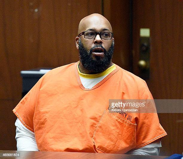 Marion 'Suge' Knight appears for a hearing at the Clara Shortridge Foltz Criminal Justice Center March 9 2015 in Los Angeles California The hearing...