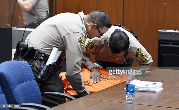 Marion 'Suge' Knight appears in court for his bail hearing at Criminal Courts Building on March 20 2015 in Los Angeles California Knight collapsed...