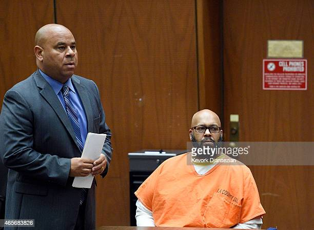 Marion 'Suge' Knight appears in court with his new lawyer Matthew P Fletcher at the Clara Shortridge Foltz Criminal Justice Center March 9 2015 in...