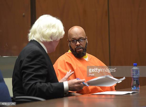 Marion 'Suge' Knight makes a court appearance with his lawyer Thomas Mesereau for assault and robbery charges at Criminal Courts Building on May 29...