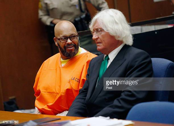 Marion 'Suge' Knight makes a court appearance with his lawyer Thomas Mesereau at Criminal Courts Building on July 7 2015 in Los Angeles California...