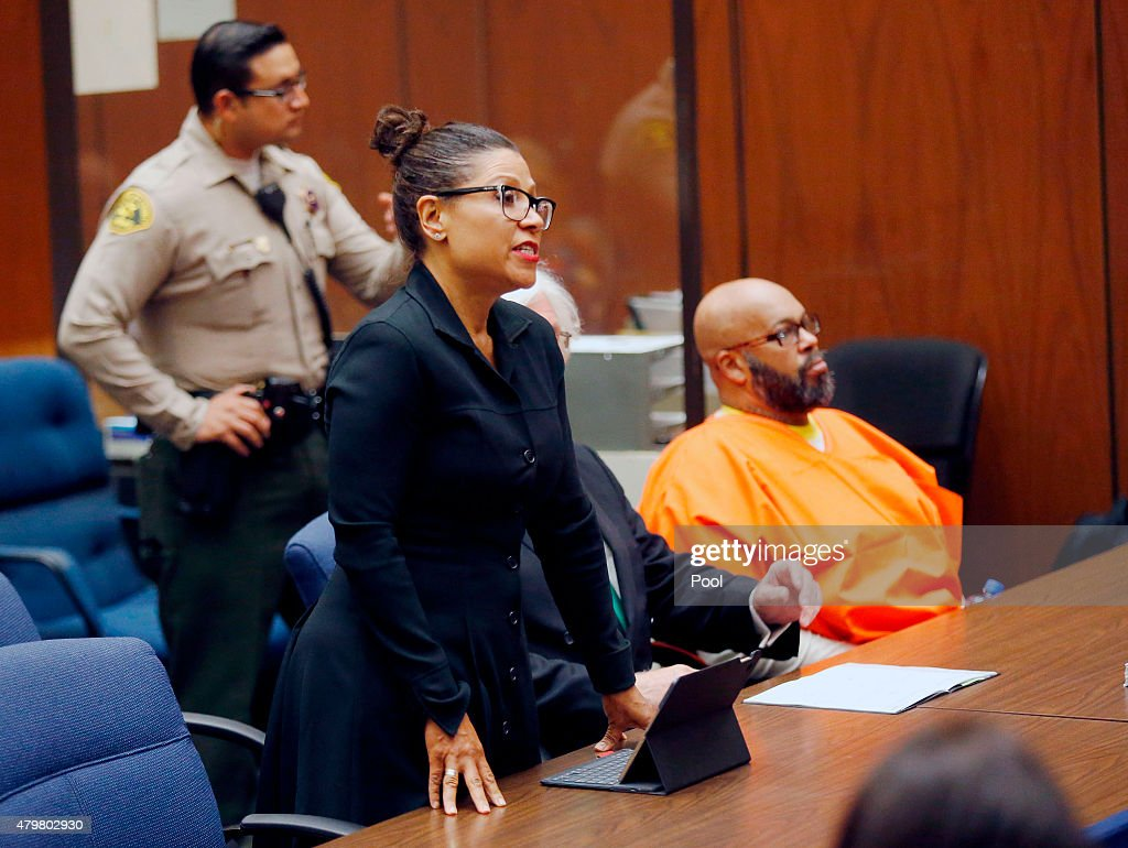 Marion 'Suge' Knight with his lawyer Shawn Holley makes a court appearance for assault and robbery charges at Criminal Courts Building on July 7 2015...