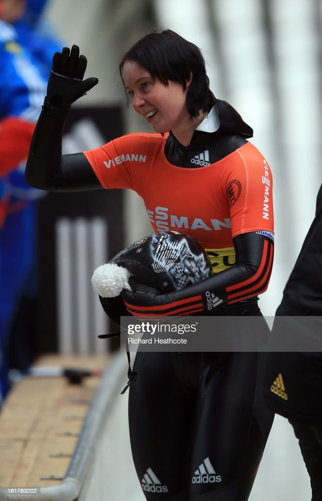 Marion Thees of Germany at the finish line during the Women's Skeleton Viessman FIBT Bob & Skeleton World Cup at the Sanki Sliding Center in Krasnya Polyana on February 16, 2013 in Sochi, Russia. Sochi is preparing for the 2014 Winter Olympics with test events across the venues.