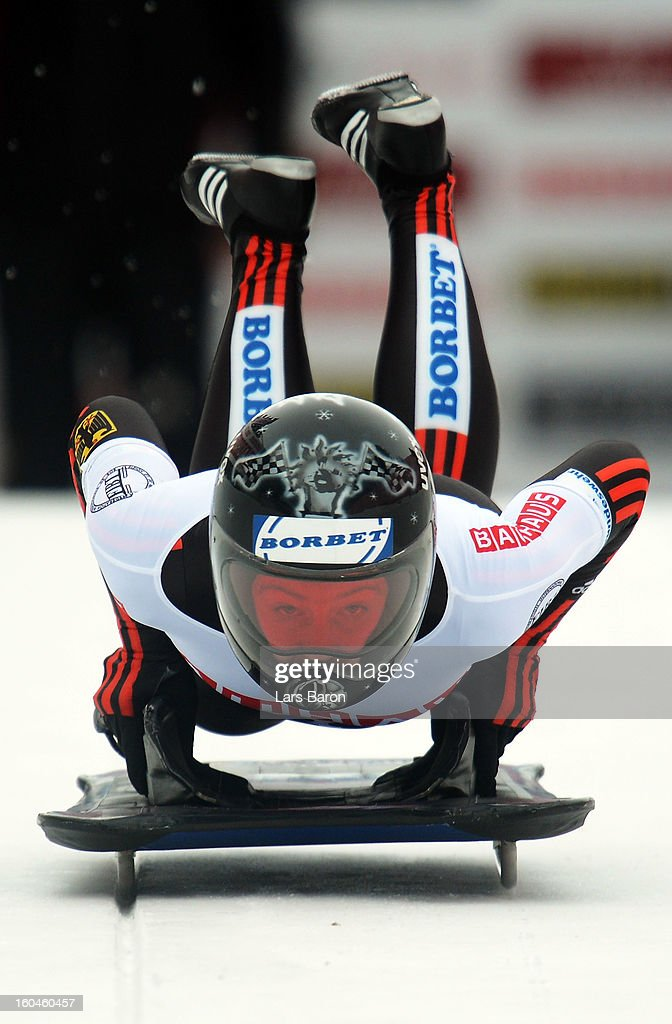 Marion Thees of Germany competes in the women's skeleton third heat of the IBSF Bob & Skeleton World Championship at Olympia Bob Run on February 1, 2013 in St Moritz, Switzerland.