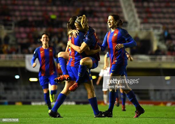 Mariona Caldentey of Barcelona celebrates with team mates after she scores her sides second goal during the UEFA Women's Champions League...