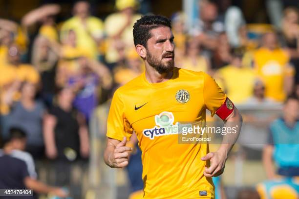 Marios Nicolaou of AEL Limassol in action during the Cypriot First Division match AEL Limassol FC and APOEL FC at the Tsirion Stadium on May 17 2014...