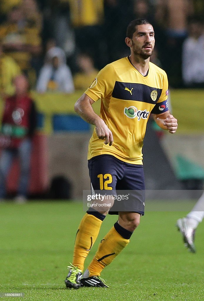 Marios Nikolaou of AEL Limassol FC in action during the UEFA Europa League group stage match between AEL Limassol FC and Fenerbahce SK held on October 25, 2012 at the GSP Stadium, in Nicosia, Cyprus.