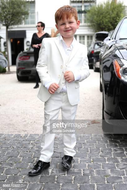 Maris Atalay son of Erdogan and Katja during the church wedding of Erdogan Atalay and Katja Ohneck at Heidelberg Castle on September 30 2017 in...
