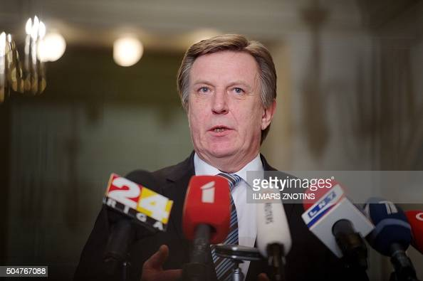 Maris Kucinskis of the Greens and Farmers Union speaks during a press conference after Latvian President nominated him as Prime Minister and asked to...