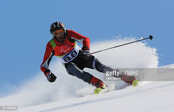 Maris Nimrods of Latvia competes in the Men's Giant Slalom during Day Six of the Turin 2006 Winter Paralympic Games on March 16 2006 in Sestriere...