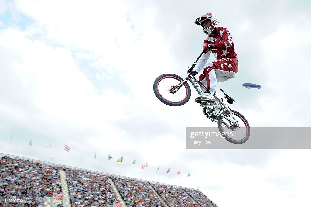 Maris Strombergs of Latvia competes during the Men's BMX Cycling on Day 12 of the London 2012 Olympic Games at BMX Track on August 8, 2012 in London, England.