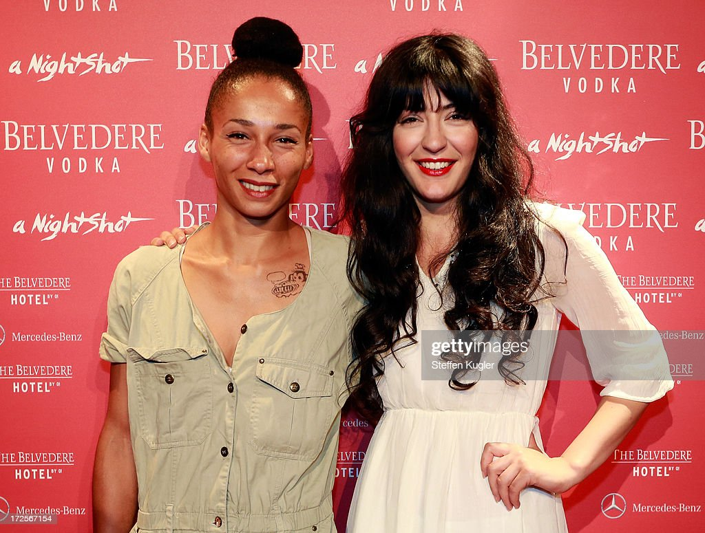 Marisa Akeny and Atina Tabe of the band Laing arrive for the Belvedere NightShot Event on July 3, 2013 in Berlin, Germany.