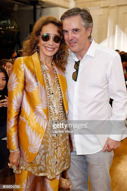 Marisa Berenson and Olivier Lapidus attend Gyunel Show during Paris Fashion Week as part of Haute Couture Fall/Winter 20172018 at Hotel D'Evreux on...