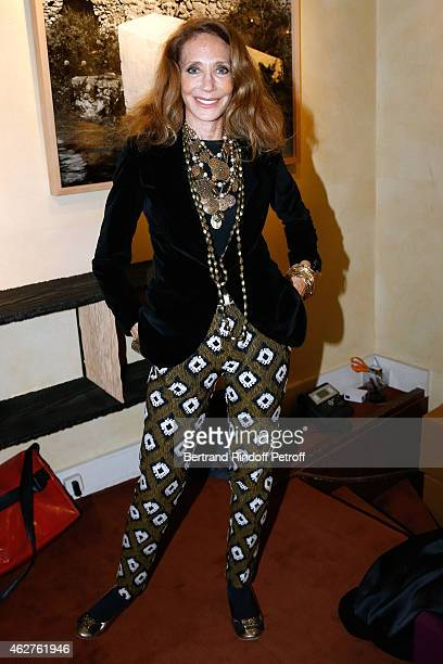 Marisa Berenson attends the Patrice Calmettes Exhibition at Galerie Passebon on February 4 2015 in Paris France