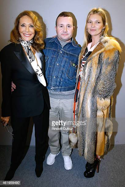 Marisa Berenson Fashion designer Kim Jones and model Kate Moss pose backstage after the Louis Vuitton Menswear Fall/Winter 20152016 Show as part of...