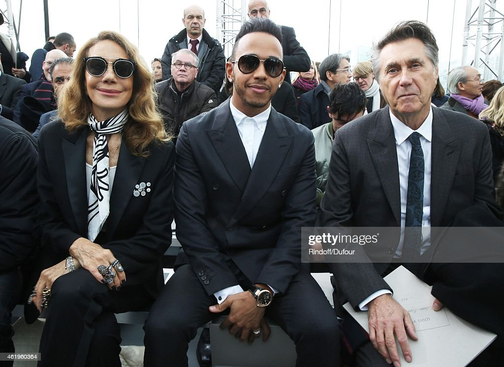 Marisa Berenson, Lewis Hamilton and Bryan Ferry attend the Louis Vuitton Menswear Fall/Winter 2015-2016 Show as part of Paris Fashion Week on January 22, 2015 in Paris, France.