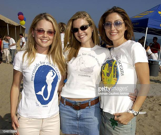 Marisa Coughlan Clare Kramer and Sasha Alexander during Movieline 'Beauty on the Beach' Party at Gladstone's Malibu in Malibu California United States
