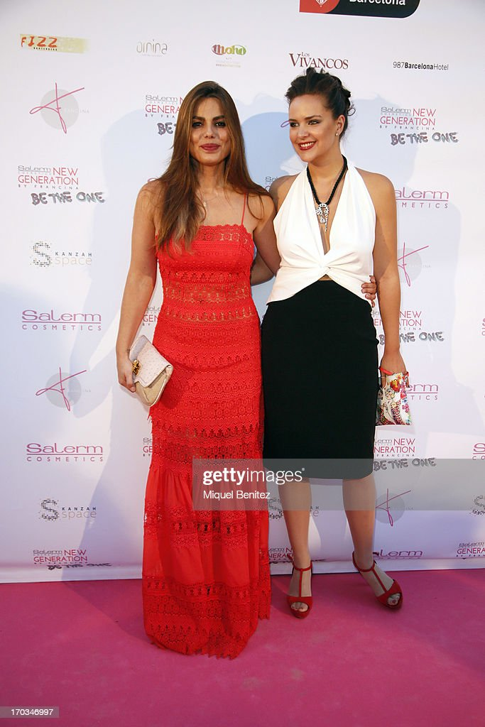 Marisa Jara and Mireia Verdu pose on the red carpet of New Generation by Francina on June 11, 2013 in Barcelona, Spain.