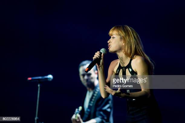 Marisa Liz of Amor Electro performs during Juntos por Todos solidarity concert for the victims of the forest fires in the Pedrogao Grande region of...