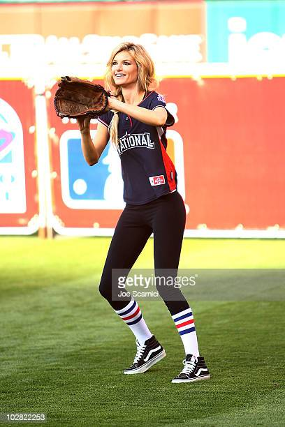 Marisa Miller attends the Taco Bell AllStar Legends Celebrity Softball Game at Angel Stadium of Anaheim on July 11 2010 in Anaheim California