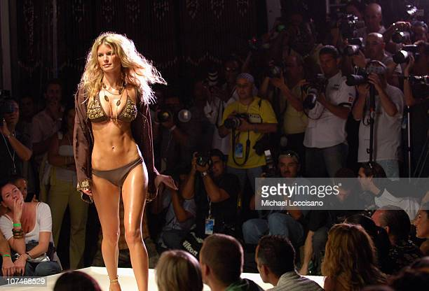 Marisa Miller wearing Inca during Sunglass Hut Swim Shows Miami Presented by LYCRA Inca at Raleigh Hotel in Miami Beach Florida United States
