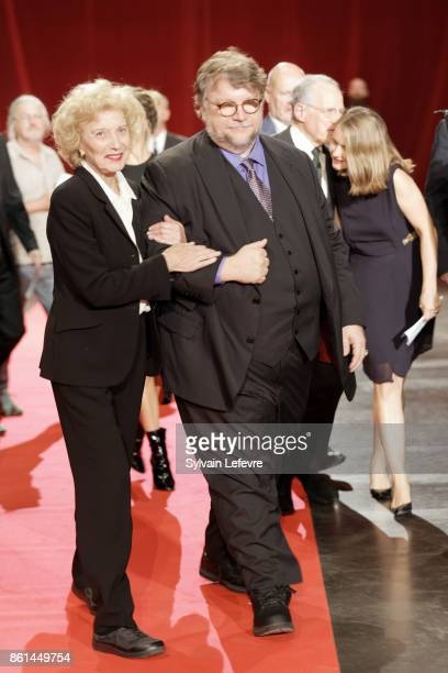 Marisa Paredes and Guillermo del Toro attend the opening ceremony of 9th Film Festival Lumiere In Lyon on October 14 2017 in Lyon France
