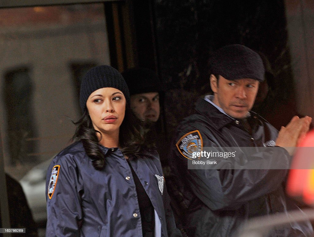Marisa Ramirez and Donnie Wahlberg filming on location for 'Blue Bloods' on March 15, 2013 in New York City.