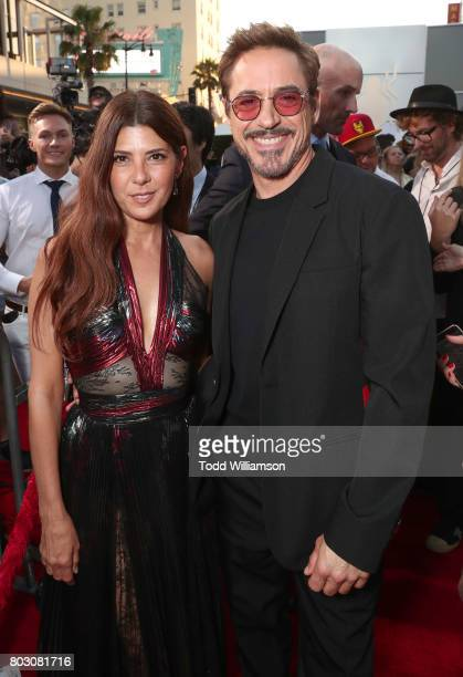 Marisa Tomei and Robert Downey Jr attend the premiere of Columbia Pictures' 'SpiderMan Homecoming' at TCL Chinese Theatre on June 28 2017 in...