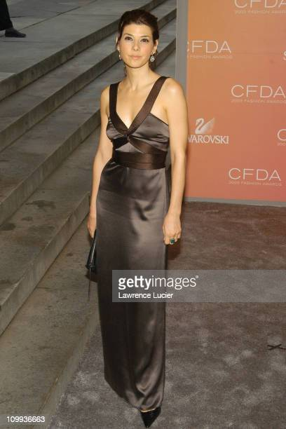 Marisa Tomei wearing a dress by Proenza Schouler during The 2003 CFDA Fashion Awards Arrivals at New York Public Library in New York City New York...