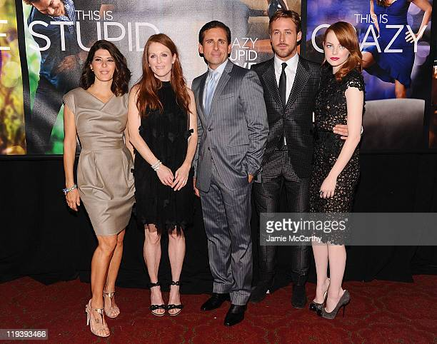 Marisa TomeiJulianne MooreSteve Carrell Ryan Gosling and Emma Stone attend the 'Crazy Stupid Love' World Premiere at the Ziegfeld Theater on July 19...