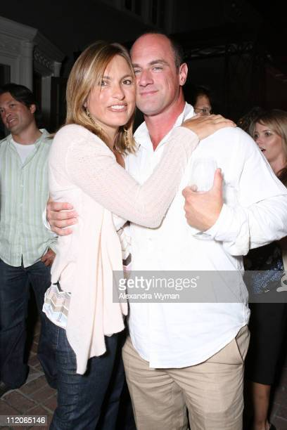Mariska Hargitay and Christopher Meloni during 'Law Order' Pre Emmy Party at Private Residence in Los Angeles California United States