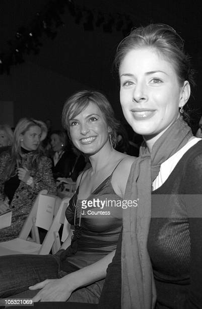 Mariska Hargitay and Diane Neal during Olympus Fashion Week Fall 2004 Badgley Mischka Front Row and Backstage at The Promenade at Bryant Park in New...