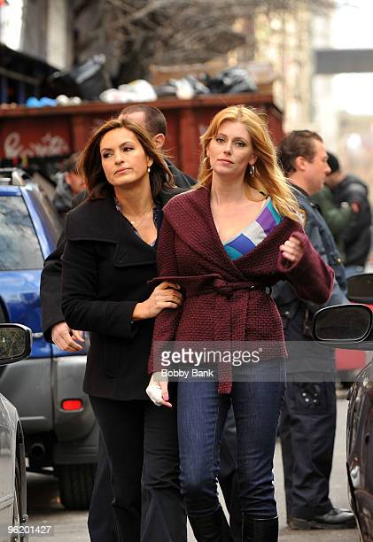 Mariska Hargitay and Diora Baird on location for 'Law Order SVU' on the streets of Manhattan on January 26 2010 in New York City