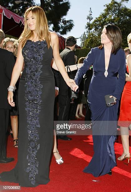 Mariska Hargitay and Megan Mullally during 58th Annual Primetime Emmy Awards Arrivals at Shrine Auditorium in Los Angeles California United States