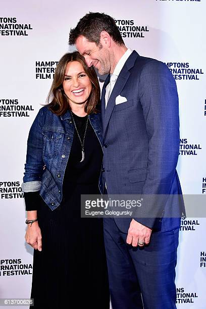 Mariska Hargitay and Peter Hermann attend the Awards Dinner at the Hamptons International Film Festival 2016 at Topping Rose on October 9 2016 in...