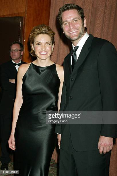 Mariska Hargitay and Peter Hermann during American Women in Radio Television 29th Annual Gracie Allen Awards Arrivals at New York Hilton Hotel in New...
