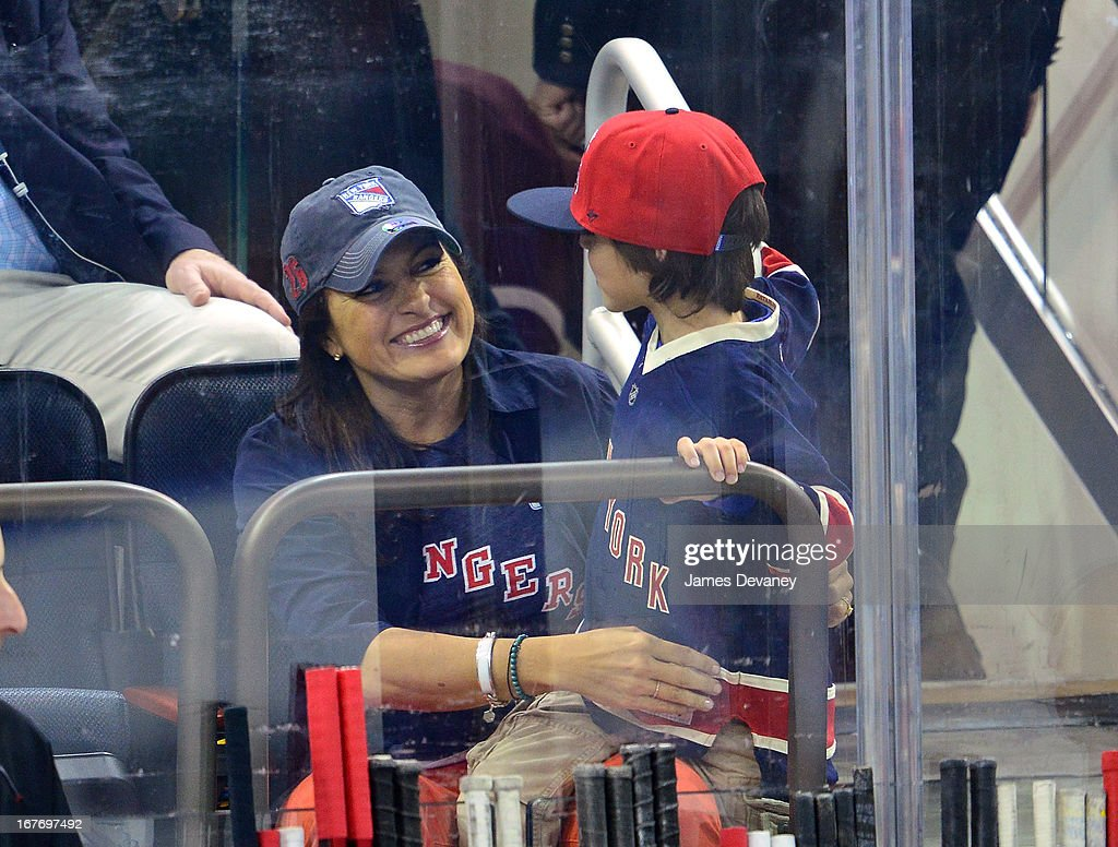 Mariska Hargitay and son August Hermann attend the New Jersey Devils vs The New York Rangers game at Madison Square Garden on April 27, 2013 in New York City.