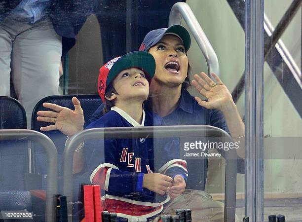 Mariska Hargitay and son August Hermann attend the New Jersey Devils vs The New York Rangers game at Madison Square Garden on April 27 2013 in New...